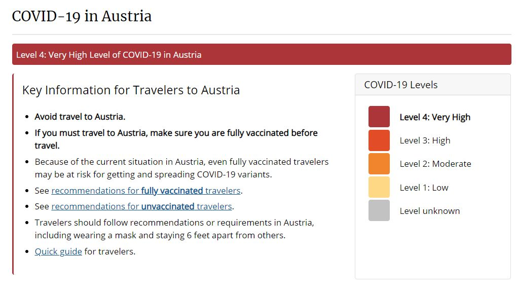 Very High Level of COVID-19 in Austria